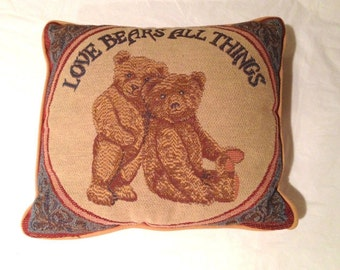 "Vintage Collectibles  Love Bears All Things Square Pillow-12 x 12""-Super Cute"