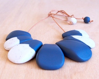 Blue & speckled white polymer clay bib necklace