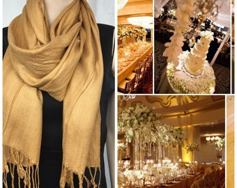 Gold pashmina scarf shawl / personalized initial shawl / bridesmaid shawl / wedding favor / spring summer wedding /