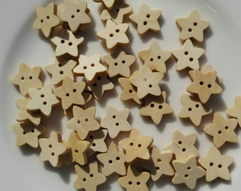 20 Wooden Buttons Natural Wooden  to Star 18x17mm