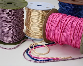 sailor rope string jewelry making craft decoration accessory shinny shimmer pink purple blue braided cord knot making