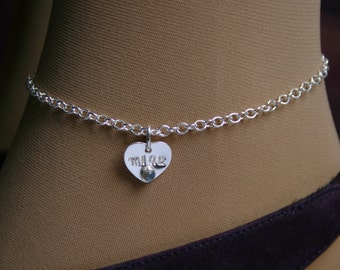 Tiny Heart. Personalized PERMANENTLY LOCKING Slave Ankle Chain Bracelet. BDSM Anklet. Sterling silver & Gemstone. Choose stone. Little heart