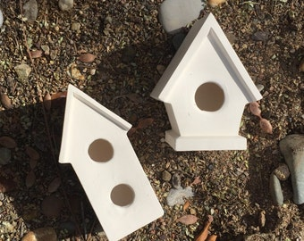 2 Ceramic Bisque Cleaned Bird Houses