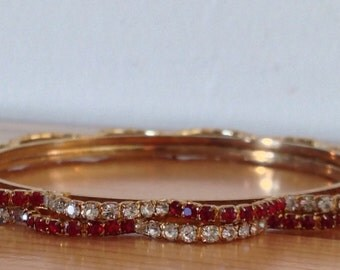 Bangle Bracelets with clear and ruby red crystals
