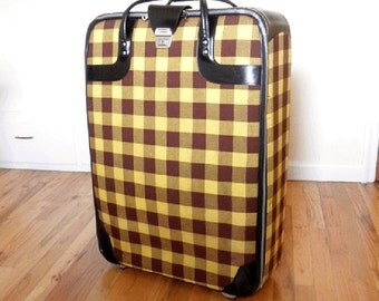 Very cool 60's/70's Long March Suitcase- Yellow and Brown Plaid- Very Large Upright Rolling Suitcase