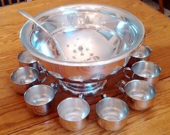 Silver Plated Punch Bow, cups and Ladle
