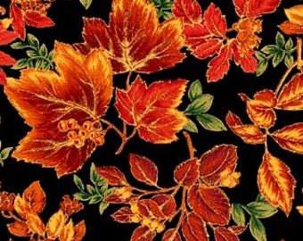 Abundance Leaves Black with Metallic Gold Fabric From Quilting Treasures By the Yard