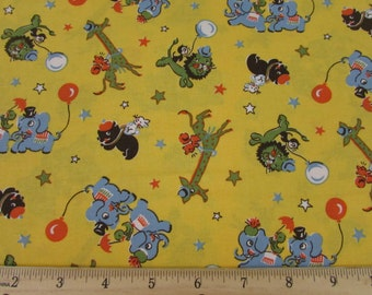 Circus Animals Bright Yellow Fabric From RJR By the Yard