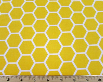 Honeycomb Lemon Yellow Fabric By the Yard