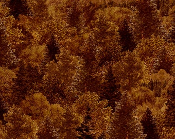 Whitetail Ridge Packed Trees Brown Fabric From Quilting Treasures