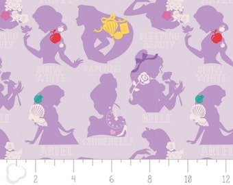 Per Yard, Disney Princess Cameo in Purple Fabric From Camelot
