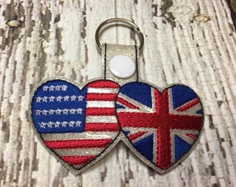 US Flag and Union Jack Flag - UK - United Kingdom - Key Fob DESIGN-  Digital Embroidery Design