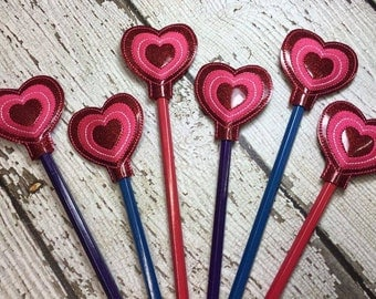 Pencil Stacked Heart - Valentine - Pencil Toppers -  In The Hoop - DIGITAL Embroidery Design