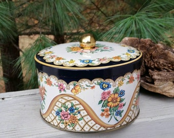 The Tin Box Round Floral Collectible Tin Made in England