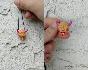 Hand Sculpted And Painted Demon Bead Necklace