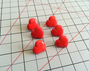 Red Heart Buttons 6 Pieces