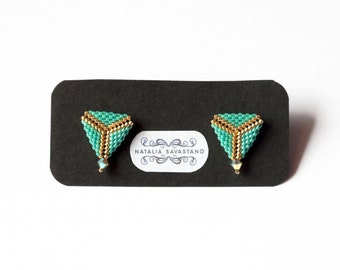Triangle Earrings made with beads and Swarovski bicones