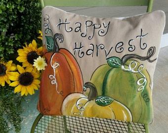Fall Pumpkin Pillow, Personalized, Gift, Orange, Yellow, Green Pumpkins, Fall Pillows Cover, Farmhouse Pillows, Porch Pillow Covers