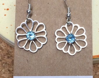 Blue Topaz Earrings, Blue Topaz Flower Earrings, Sterking Silver Flower Earrings, Flower Earrings, Petals of Metals Line