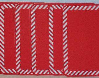 Set of 6 Handmade CHRISTMAS Candy Cane Journal or Photo Tags
