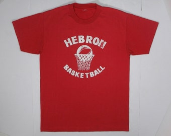 80s T Shirt Hebron Basketball Red faded white logo soft blend tee sports team number 14 90s hipster punk rock worn school city