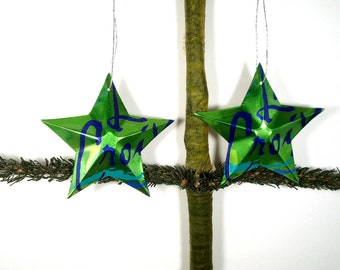 La Croix Lime Sparkling Water Soda Can Aluminum Stars - 2 Recycled Christmas Ornaments or Gift Toppers