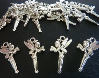 20 pce Metal Antique Silver Fairy Tinker Bell Charm / Pendants 25mm x 14mm