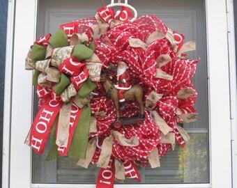 Santa and His Reindeer Deco Mesh Wreath