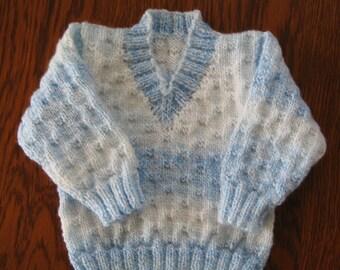 "Hand Knitted Baby V Necked Jumper  Chest 18""/23cm"