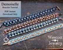 Pattern for Demoiselle Bracelet with Honeycomb Beads or DiscDuo Beads