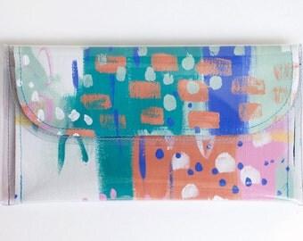 Lila Wristlet Wallet | Painted Canvas. Wedding Accessory. Vegan Purse. Wearable Art. Statement Accessory. Bridesmaid Clutch. Original Bag