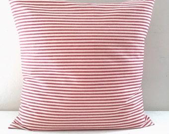 Red Stripe Farmhouse Pillow