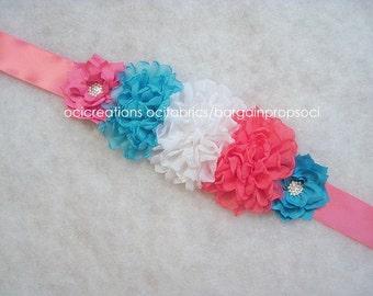 Flower Sash Belt, Hot Pink, White, Blue, belly bump sash, baby bump prop, maternity sash, maternity prop, basket sash, bucket sash