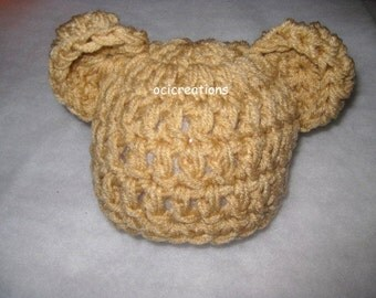 MADE TO ORDER Crochet Chunky Bear Beanie Newborn Photo Prop Choose Your Color