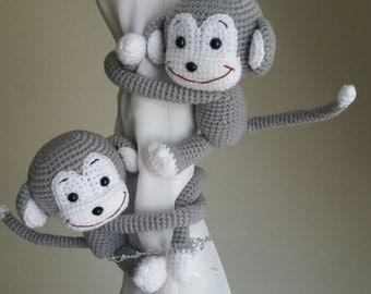 2  Monkey Curtain Tiebacks, (Both sides)  MADE TO ORDER..