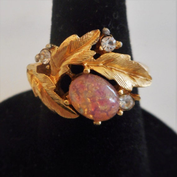 Sale Vintage Avon Fire Opal Ring Fireflower Adjustable Size