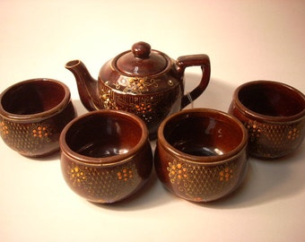 5pc Vintage Brown and Orange Japanese Teapot and Teacups Matching Set