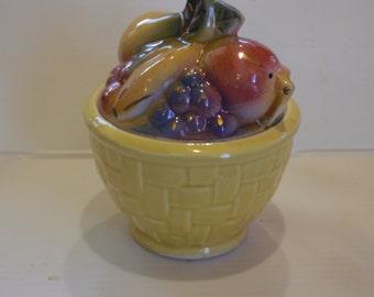 Vintage Shawnee fruit basket pattern covered bowl