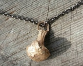 Golden Chanterelle and Hexagon Cast Bronze Necklace with Chain