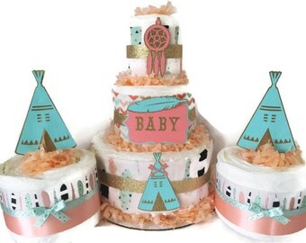 Set of 3 Tribal Baby Shower Diaper Cakes in coral and mint, Centerpiece