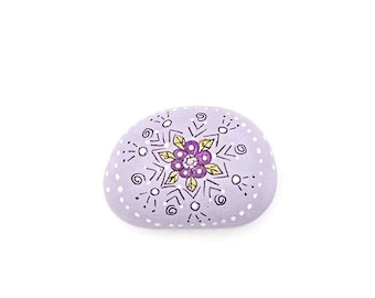 Hand Painted Mandala River Rock, Painted Lavender Mandala Rock, Dot Art Rock, Garden River Rock, Fairy Garden River Rock - PASSIONFLOWER