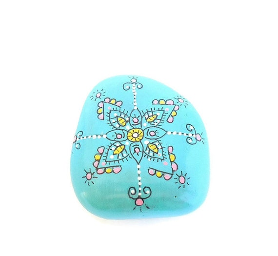 Hand painted garden stone painted river stone flower mandala - Hand painted garden stones ...