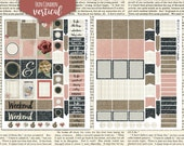 Shabby Rustic Burlap & Chalkboard Erin Condren Vertical ECLP Plum Mambi Happy Planner Printable Stickers Instant Download - 2 JPEG files