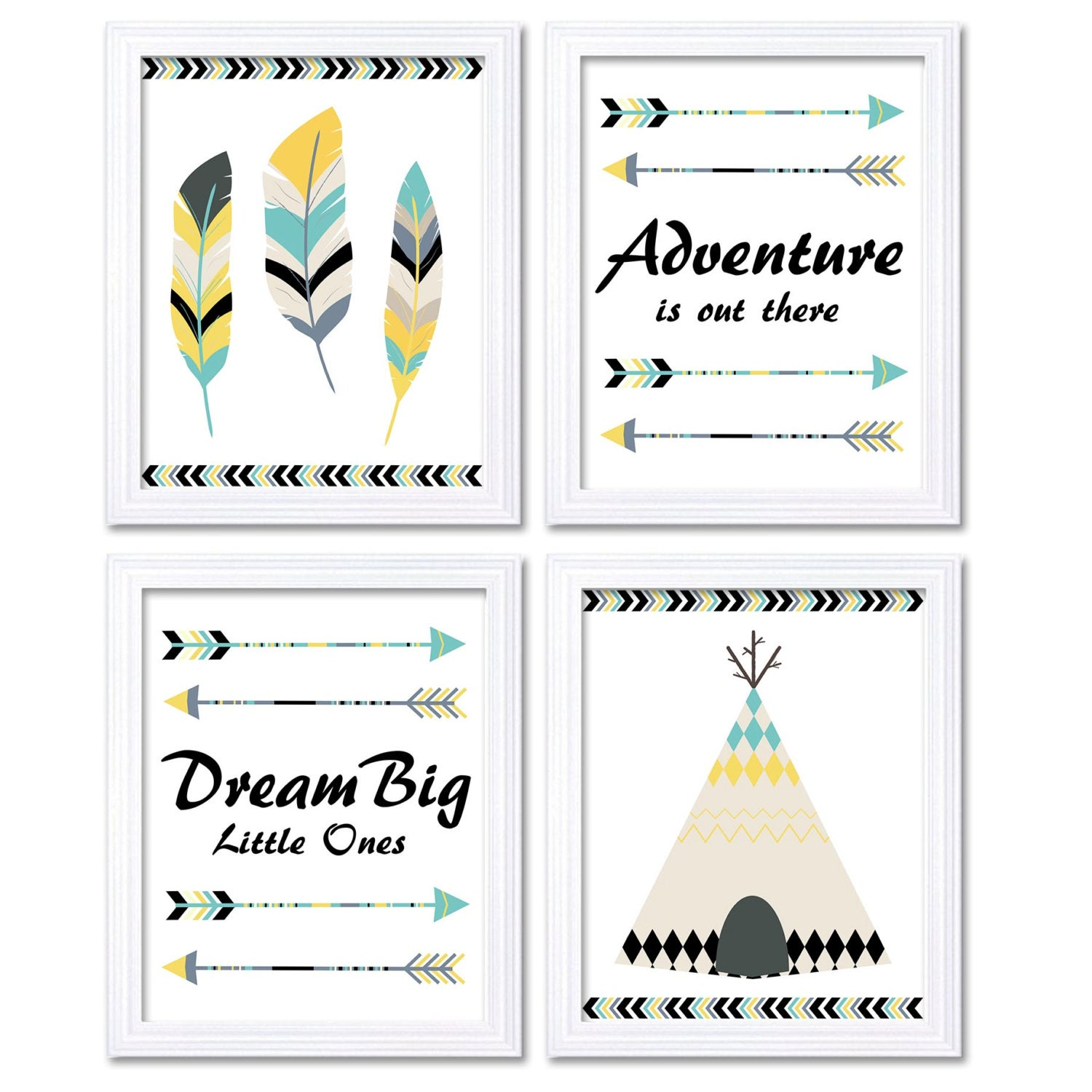 Tribal Nursery Art Print Yellow Turquoise Beige Set of 4 Wall Decor Adventure is Out There Dream Big