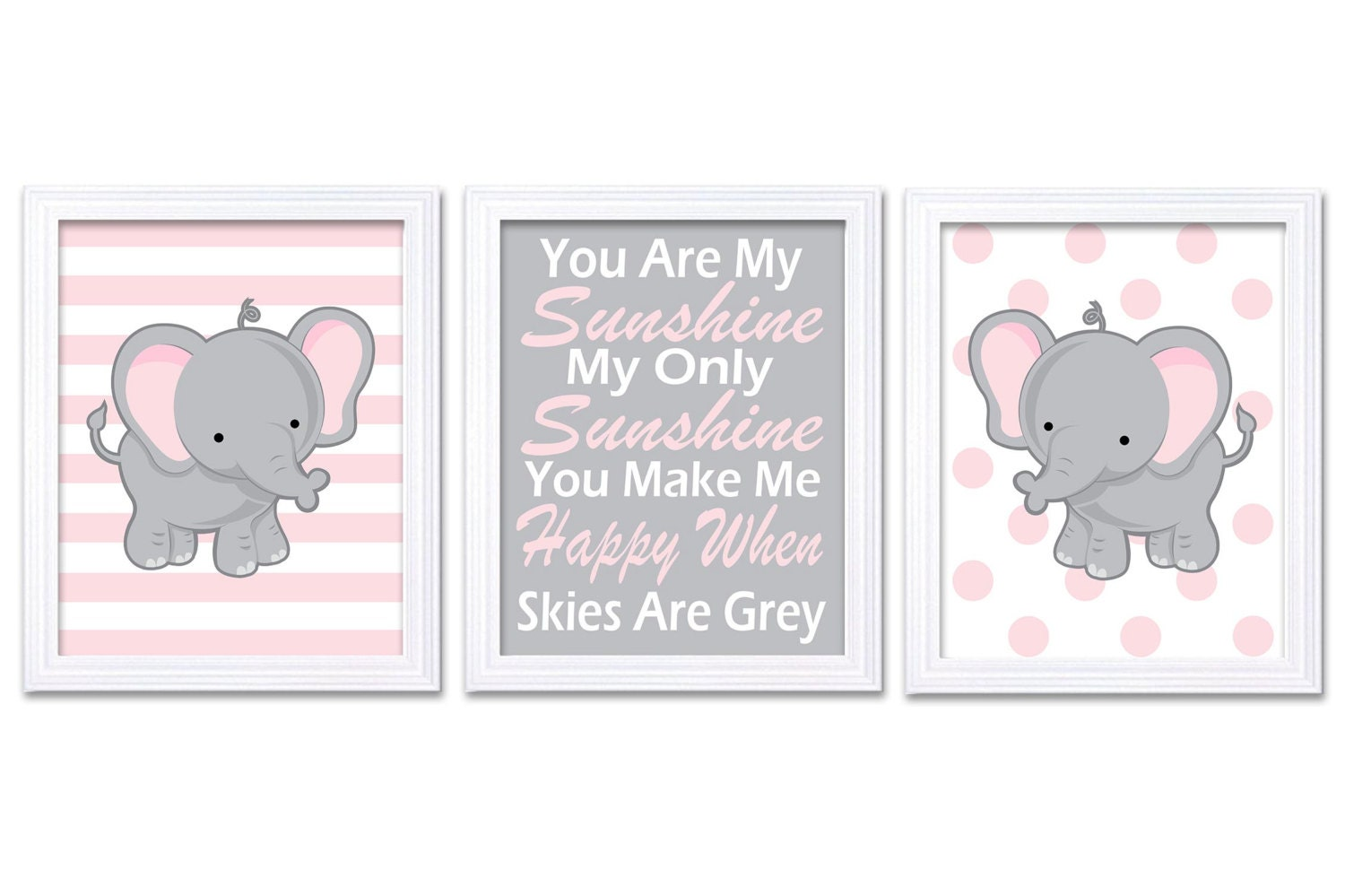Elephant Nursery Art Set of 3 Prints Pink Grey You Are My Sunshine My Only Sunshine Child Kid Girl R