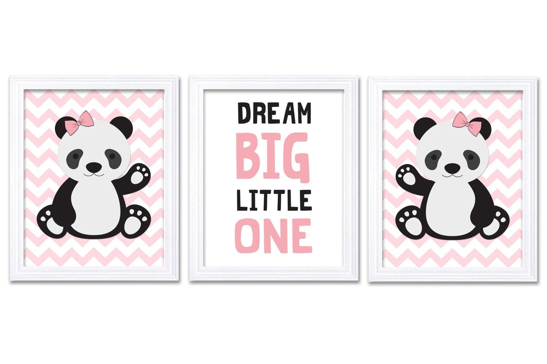 Girl Panda Nursery Art Set of 3 Print Pink Black Dream Big Little One Child Kid Room Nursery Wall De
