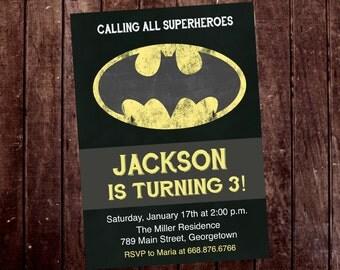 Batman Superhero Birthday Party Invitation - Printable or Printed