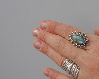 Ring Sterling silver and labradorite vintage gypsy gothique woman festival cocktail