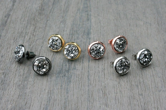 Gunmetal Druzy Studs // Silver, Gunmetal, Gold or Rose Gold // Bridesmaid Gift // Gifts for Her // Wedding // Stocking Stuffer
