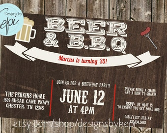 Birthday Invitation- Beer & BBQ
